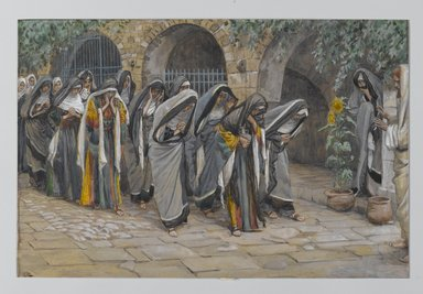 James Tissot (French, 1836-1902). The Holy Women (Les femmes saintes), 1886-1896. Opaque watercolor over graphite on gray wove paper, Image: 6 11/16 x 10 1/8 in. (17 x 25.7 cm). Brooklyn Museum, Purchased by public subscription, 00.159.151