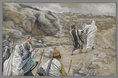 James Tissot (French, 1836-1902). Get Thee Behind Me, Satan (Rétire-toi, Satan), 1886-1896. Opaque watercolor over graphite on gray wove paper, Image: 5 11/16 x 8 5/8 in. (14.4 x 21.9 cm). Brooklyn Museum, Purchased by public subscription, 00.159.153