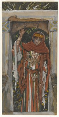 James Tissot (French, 1836-1902). The Magdalene Before Her Conversion (Madeleine avant sa conversion ), 1886-1894. Opaque watercolor over graphite on gray wove paper, Image: 11 1/16 x 5 1/2 in. (28.1 x 14 cm). Brooklyn Museum, Purchased by public subscription, 00.159.154