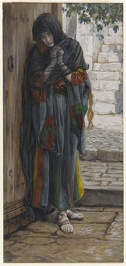 James Tissot (French, 1836-1902). The Repentant Mary Magdalene (Madeleine répentante), 1886-1894. Opaque watercolor over graphite on gray wove paper, Image: 8 9/16 x 3 15/16 in. (21.7 x 10 cm). Brooklyn Museum, Purchased by public subscription, 00.159.155