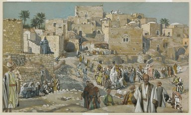 James Tissot (French, 1836-1902). He Went Through the Villages on the Way to Jerusalem (Il allait par les villages en route pour Jérusalem), 1886-1896. Opaque watercolor over graphite on gray wove paper, Image: 6 9/16 x 10 7/8 in. (16.7 x 27.6 cm). Brooklyn Museum, Purchased by public subscription, 00.159.157