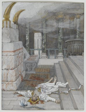 James Tissot (French, 1836-1902). Zacharias Killed Between the Temple and the Altar (Zacharie tué entre le temple et l'autel), 1886-1894. Opaque watercolor over graphite on gray wove paper, Image: 7 1/8 x 5 1/2 in. (18.1 x 14 cm). Brooklyn Museum, Purchased by public subscription, 00.159.158