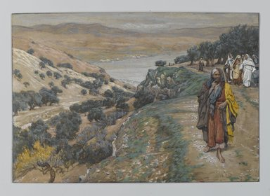 James Tissot (French, 1836-1902). The Rich Young Man Went Away Sorrowful (Le jeune homme riche s'en alla triste), 1886-1896. Opaque watercolor over graphite on gray wove paper, Image: 6 9/16 x 9 9/16 in. (16.7 x 24.3 cm). Brooklyn Museum, Purchased by public subscription, 00.159.159