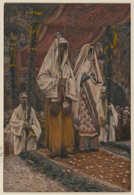James Tissot (French, 1836-1902). The Betrothal of the Holy Virgin and Saint Joseph (Fiançailles de la sainte vierge et de saint Joseph), 1886-1894. Opaque watercolor over graphite on gray wove paper, Image: 6 5/8 x 4 1/2 in. (16.8 x 11.4 cm). Brooklyn Museum, Purchased by public subscription, 00.159.15