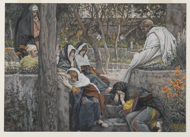 James Tissot (French, 1836-1902). Jesus, Mary Magdalene, and Martha at Bethany (Jésus à Bethanie, Marie, Madeleine et Marthe), 1886-1894. Opaque watercolor over graphite on gray wove paper, Image: 7 15/16 x 11 3/16 in. (20.2 x 28.4 cm). Brooklyn Museum, Purchased by public subscription, 00.159.162