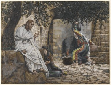 James Tissot (French, 1836-1902). Mary Magdalene at the Feet of Jesus, 1886-1894. Opaque watercolor over graphite on gray wove paper, Image: 7 15/16 x 10 3/8 in. (20.2 x 26.4 cm). Brooklyn Museum, Purchased by public subscription, 00.159.164