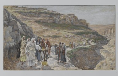 James Tissot (French, 1836-1902). Jesus Discourses with His Disciples (Jésus s'entretient avec ses disciples), 1886-1896. Opaque watercolor over graphite on gray wove paper, Image: 6 13/16 x 11 11/16 in. (17.3 x 29.7 cm). Brooklyn Museum, Purchased by public subscription, 00.159.165