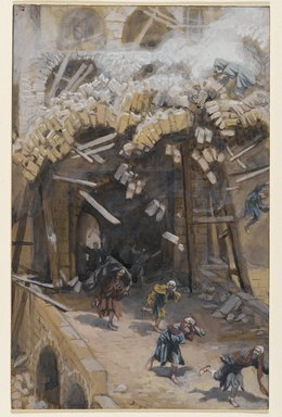 James Tissot (French, 1836-1902). The Tower of Siloam (Le tour de Siloë), 1886-1896. Opaque watercolor over graphite on gray wove paper, Image: 9 1/4 x 5 7/8 in. (23.5 x 14.9 cm). Brooklyn Museum, Purchased by public subscription, 00.159.166
