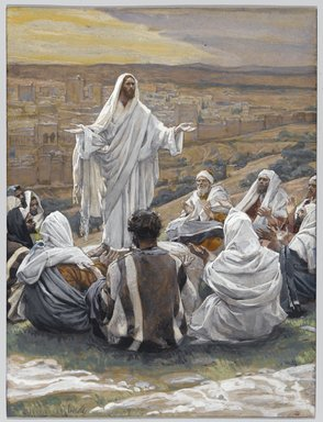 "James Tissot (French, 1836-1902). The Lord's Prayer (Le ""Pater Noster""), 1886-1896. Opaque watercolor over graphite on gray wove paper, Image: 8 1/2 x 6 7/16 in. (21.6 x 16.4 cm). Brooklyn Museum, Purchased by public subscription, 00.159.167"