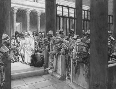James Tissot (French, 1836-1902). But No Man Laid Hands Upon Him (Les satellites ne prirent point Jésus), 1886-1896. Opaque watercolor over graphite on gray wove paper, Image: 6 5/16 x 8 1/4 in. (16 x 21 cm). Brooklyn Museum, Purchased by public subscription, 00.159.168