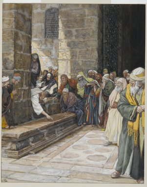 James Tissot (French, 1836-1902). The Adulterous Woman--Christ Writing upon the Ground (La femme adultère--Christ écrit par terre), 1886-1894. Opaque watercolor over graphite on gray wove paper, Image: 9 7/16 x 7 9/16 in. (24 x 19.2 cm). Brooklyn Museum, Purchased by public subscription, 00.159.169