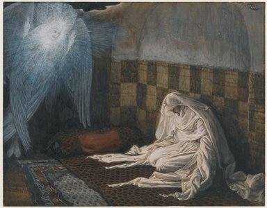 James Tissot (French, 1836-1902). The Annunciation (L'annonciation), 1886-1894. Opaque watercolor over graphite on gray wove paper, Image: 6 11/16 x 8 9/16 in. (17 x 21.7 cm). Brooklyn Museum, Purchased by public subscription, 00.159.16