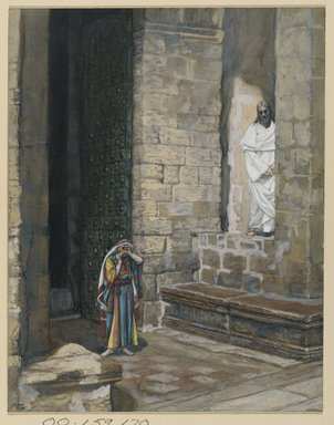 James Tissot (French, 1836-1902). The Adulterous Woman Alone with Jesus (La femme adultère seule avec Jésus), 1886-1894. Opaque watercolor over graphite on gray wove paper, Image: 9 3/16 x 7 1/8 in. (23.3 x 18.1 cm). Brooklyn Museum, Purchased by public subscription, 00.159.170