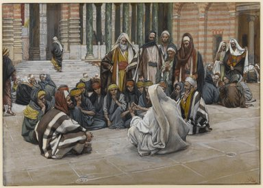 James Tissot (French, 1836-1902). Jesus Speaks Near the Treasury (Jésus parle près du trésor), 1886-1896. Opaque watercolor over graphite on gray wove paper, Image: 6 5/8 x 9 5/16 in. (16.8 x 23.7 cm). Brooklyn Museum, Purchased by public subscription, 00.159.171