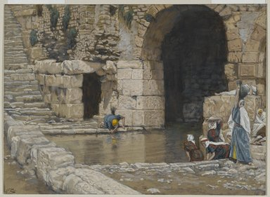 James Tissot (French, 1836-1902). The Blind Man Washes in the Pool of Siloam (Le aveugle-né se lave à la piscine de Siloë), 1886-1894. Opaque watercolor over graphite on gray wove paper, Image: 5 9/16 x 7 11/16 in. (14.1 x 19.5 cm). Brooklyn Museum, Purchased by public subscription, 00.159.173