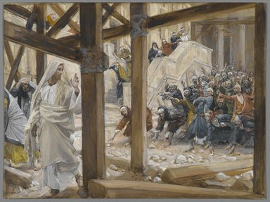 James Tissot (French, 1836-1902). The Jews Took Up Rocks to Stone Jesus (Les juifs prirent des pierres pour lapider Jésus), 1886-1896. Opaque watercolor over graphite on gray wove paper, Image: 6 1/8 x 8 1/4 in. (15.6 x 21 cm). Brooklyn Museum, Purchased by public subscription, 00.159.176