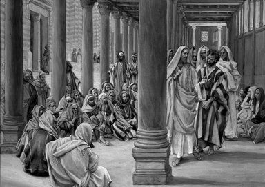 James Tissot (French, 1836-1902). Jesus Walks in the Portico of Solomon (Jésus se promène dans le portique de Salomon), 1886-1896. Opaque watercolor over graphite on gray wove paper, Image: 7 3/8 x 10 7/16 in. (18.7 x 26.5 cm). Brooklyn Museum, Purchased by public subscription, 00.159.177