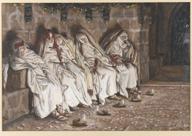 James Tissot (French, 1836-1902). The Wise Virgins (Les vierges sages), 1886-1894. Opaque watercolor over graphite on gray wove paper, Image: 6 1/8 x 9 5/8 in. (15.6 x 24.4 cm). Brooklyn Museum, Purchased by public subscription, 00.159.179
