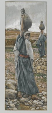 James Tissot (French, 1836-1902). The Holy Virgin in Her Youth (La sainte vierge jeune), 1886-1894. Opaque watercolor over graphite on gray wove paper, Image: 8 5/8 x 3 3/8 in. (21.9 x 8.6 cm). Brooklyn Museum, Purchased by public subscription, 00.159.17