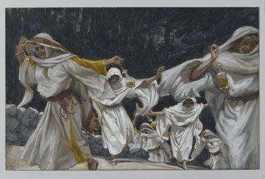 James Tissot (French, 1836-1902). The Foolish Virgins (Les vierges folles), 1886-1894. Opaque watercolor over graphite on gray wove paper, Image: 7 1/8 x 10 3/8 in. (18.1 x 26.4 cm). Brooklyn Museum, Purchased by public subscription, 00.159.180