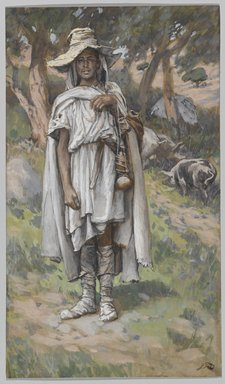 James Tissot (French, 1836-1902). The Prodigal Son Begging (L'enfant prodigue mendiant), 1886-1894. Opaque watercolor over graphite on gray wove paper, Image: 7 15/16 x 4 5/8 in. (20.2 x 11.7 cm). Brooklyn Museum, Purchased by public subscription, 00.159.184