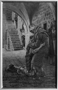 James Tissot (French, 1836-1902). The Return of the Prodigal Son (Le retour de l'enfant prodigue), 1886-1894. Opaque watercolor over graphite on gray wove paper, Image: 8 11/16 x 5 1/2 in. (22.1 x 14 cm). Brooklyn Museum, Purchased by public subscription, 00.159.185