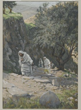 James Tissot (French, 1836-1902). He Went on His Way to Ephraim (Il s'en alla à Ephrem), 1886-1896. Opaque watercolor over graphite on gray wove paper, Image: 8 3/4 x 6 1/16 in. (22.2 x 15.4 cm). Brooklyn Museum, Purchased by public subscription, 00.159.186