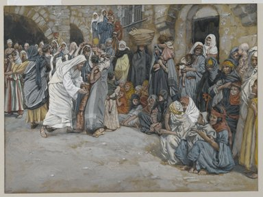 James Tissot (French, 1836-1902). Suffer the Little Children to Come unto Me (Laisser venir à moi les petits enfants), 1886-1896. Opaque watercolor over graphite on gray wove paper, Image: 7 x 9 7/16 in. (17.8 x 24 cm). Brooklyn Museum, Purchased by public subscription, 00.159.188
