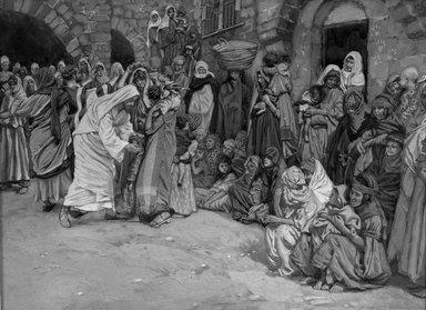 James Tissot (French, 1836-1902). Suffer the Little Children to Come unto Me (Laisser venir à moi les petits enfants), 1886-1896. Opaque watercolor over graphite on gray wove paper, Image: 7 x 9 7/16 in. (17.8 x 24 cm). Brooklyn Museum, Purchased by public subscription, 00.159.188