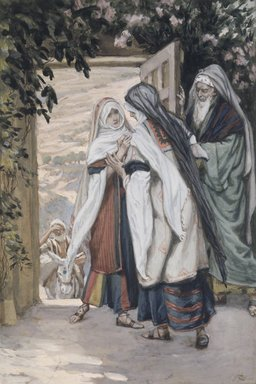 James Tissot (French, 1836-1902). The Visitation (La visitation), 1886-1894. Opaque watercolor over graphite on gray wove paper, Image: 6 7/8 x 4 5/8 in. (17.5 x 11.7 cm). Brooklyn Museum, Purchased by public subscription, 00.159.18