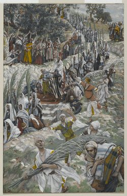 James Tissot (French, 1836-1902). The Procession on the Mount of Olives (Le cortège sur le mont des Oliviers), 1886-1894. Opaque watercolor over graphite on gray wove paper, Image: 8 5/8 x 5 9/16 in. (21.9 x 14.1 cm). Brooklyn Museum, Purchased by public subscription, 00.159.192