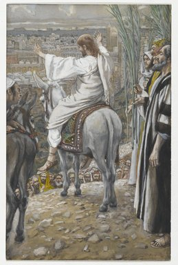 James Tissot (French, 1836-1902). The Lord Wept (Le Seigneur pleura), 1886-1894. Opaque watercolor over graphite on gray wove paper, Image: 7 13/16 x 5 in. (19.8 x 12.7 cm). Brooklyn Museum, Purchased by public subscription, 00.159.193