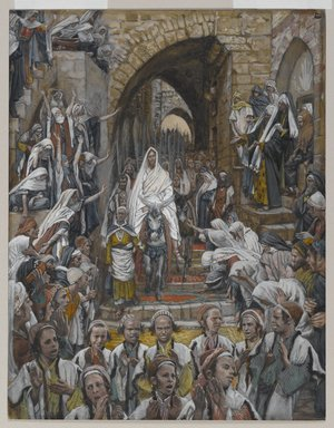 James Tissot (French, 1836-1902). The Procession in the Streets of Jerusalem (Le cortège dans les rues de Jérusalem), 1886-1894. Opaque watercolor over graphite on gray wove paper, Image: 8 7/8 x 6 15/16 in. (22.5 x 17.6 cm). Brooklyn Museum, Purchased by public subscription, 00.159.194