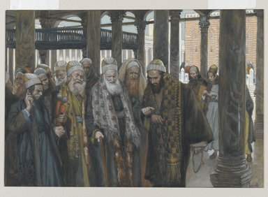 James Tissot (French, 1836-1902). The Chief Priests Take Counsel Together (Les princes des prêtres se consultent), 1886-1894. Opaque watercolor over graphite on gray wove paper, Image: 7 1/8 x 10 5/16 in. (18.1 x 26.2 cm). Brooklyn Museum, Purchased by public subscription, 00.159.196