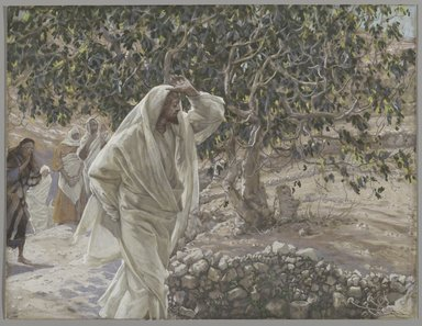 James Tissot (French, 1836-1902). The Accursed Fig Tree (Le figuier maudit), 1886-1894. Opaque watercolor over graphite on gray wove paper, Image: 8 3/8 x 11 in. (21.3 x 27.9 cm). Brooklyn Museum, Purchased by public subscription, 00.159.197
