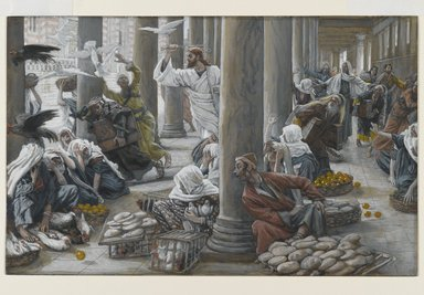 James Tissot (French, 1836-1902). The Merchants Chased from the Temple (Les vendeurs chassés du Temple), 1886-1894. Opaque watercolor over graphite on gray wove paper, Image: 7 5/16 x 11 9/16 in. (18.6 x 29.4 cm). Brooklyn Museum, Purchased by public subscription, 00.159.198
