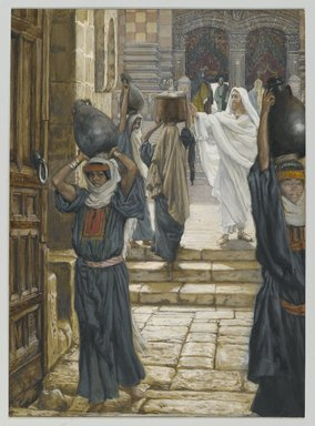 James Tissot (French, 1836-1902). Jesus Forbids the Carrying of Loads in the Forecourt of the Temple (Jésus empêche de porter les fardeaux dans le parvis du Temple), 1886-1894. Opaque watercolor over graphite on gray wove paper, Image: 9 7/8 x 7 1/8 in. (25.1 x 18.1 cm). Brooklyn Museum, Purchased by public subscription, 00.159.199