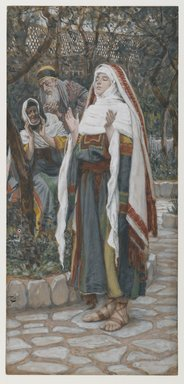 James Tissot (French, 1836-1902). The Magnificat (Le magnificat), 1886-1894. Opaque watercolor over graphite on gray wove paper, Image: 9 15/16 x 4 5/8 in. (25.2 x 11.7 cm). Brooklyn Museum, Purchased by public subscription, 00.159.19