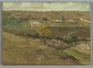 James Tissot (French, 1836-1902). Jerusalem from the Mount of Olives (Jérusalem. Prise du mont des Oliviers), 1886-1894. Oil on board, 14 1/2 x 20 3/8 in. (36.8 x 51.8 cm). Brooklyn Museum, Purchased by public subscription, 00.159.1