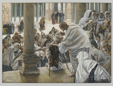 James Tissot (French, 1836-1902). He Heals the Lame (Il guérit les boiteux), 1886-1894. Opaque watercolor over graphite on gray wove paper, Image: 7 13/16 x 10 9/16 in. (19.8 x 26.8 cm). Brooklyn Museum, Purchased by public subscription, 00.159.200