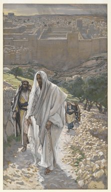 James Tissot (French, 1836-1902). Jesus Goes in the Evening to Bethany (Jésus va le soir à Béthanie), 1886-1894. Opaque watercolor over graphite on gray wove paper, Image: 9 3/16 x 5 3/16 in. (23.3 x 13.2 cm). Brooklyn Museum, Purchased by public subscription, 00.159.201