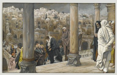 James Tissot (French, 1836-1902). The Gentiles Ask to See Jesus (Les gentils demandent à voir Jésus), 1886-1894. Opaque watercolor over graphite on gray wove paper, Image: 7 3/16 x 11 3/8 in. (18.3 x 28.9 cm). Brooklyn Museum, Purchased by public subscription, 00.159.202