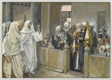 James Tissot (French, 1836-1902). The Chief Priests Ask Jesus by What Right Does He Act in This Way (Les princes des prêtres interrogent Jésus de quel droit il agit), 1886-1894. Opaque watercolor over graphite on gray wove paper, Image: 7 7/16 x 10 7/16 in. (18.9 x 26.5 cm). Brooklyn Museum, Purchased by public subscription, 00.159.204