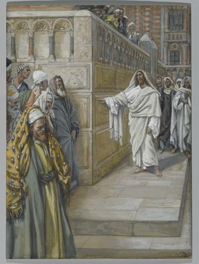 James Tissot (French, 1836-1902). The Corner Stone (Le pierre angulaire), 1886-1894. Opaque watercolor over graphite on gray wove paper, Image: 7 1/8 x 5 1/4 in. (18.1 x 13.3 cm). Brooklyn Museum, Purchased by public subscription, 00.159.205
