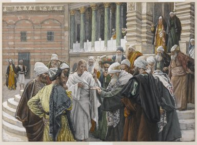 James Tissot (French, 1836-1902). The Tribute Money (Le denier de César), 1886-1894. Opaque watercolor over graphite on gray wove paper, Image: 7 5/8 x 10 7/16 in. (19.4 x 26.5 cm). Brooklyn Museum, Purchased by public subscription, 00.159.206