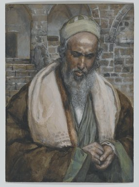James Tissot (French, 1836-1902). Saint Luke (Saint Luc), 1886-1894. Opaque watercolor over graphite on gray wove paper, Image: 5 7/16 x 3 15/16 in. (13.8 x 10 cm). Brooklyn Museum, Purchased by public subscription, 00.159.207