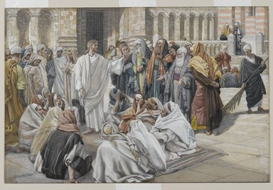 James Tissot (French, 1836-1902). The Pharisees Question Jesus (Les pharisiens questionnent Jésus), 1886-1894. Opaque watercolor over graphite on gray wove paper, Image: 7 3/8 x 11 1/8 in. (18.7 x 28.3 cm). Brooklyn Museum, Purchased by public subscription, 00.159.208