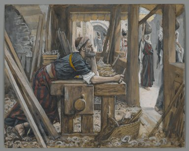 James Tissot (French, 1836-1902). The Anxiety of Saint Joseph (L'anxiété de Saint Joseph), 1886-1894. Opaque watercolor over graphite on gray wove paper, Image: 6 5/16 x 7 13/16 in. (16 x 19.8 cm). Brooklyn Museum, Purchased by public subscription, 00.159.20