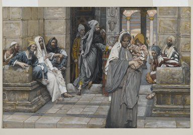 James Tissot (French, 1836-1902). The Widow's Mite (Le denier de la veuve), 1886-1894. Opaque watercolor over graphite on gray wove paper, Image: 7 3/16 x 11 1/16 in. (18.3 x 28.1 cm). Brooklyn Museum, Purchased by public subscription, 00.159.211