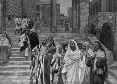 James Tissot (French, 1836-1902). The Disciples Admire the Buildings of the Temple (Les disciples admirent les constructions du Temple), 1886-1894. Opaque watercolor over graphite on gray wove paper, Image: 8 7/16 x 11 9/16 in. (21.4 x 29.4 cm). Brooklyn Museum, Purchased by public subscription, 00.159.212